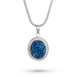 Sterling Silver Oval Blue Drusy Cabled Pendant