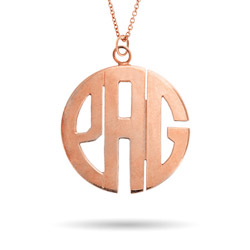 Rose Gold Vermeil Large Block Style Monogram Necklace