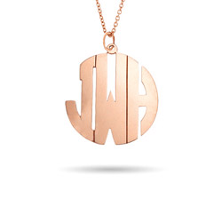 Rose Gold Vermeil Medium Block Style Monogram Necklace