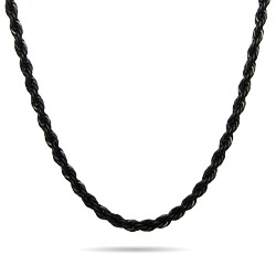 Mens Black Plate Rope Chain