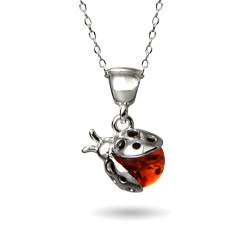 Genuine Baltic Honey Amber Sterling Silver Ladybug Pendant