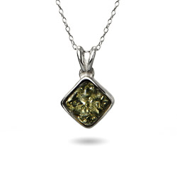 Green Baltic Amber Cushion Cut Sterling Silver Pendant