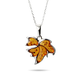 Genuine Baltic Honey Amber Autumn Leaf Pendant