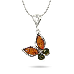 Genuine Baltic Amber Sterling Silver Butterfly Pendant