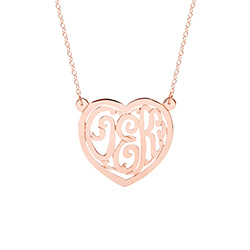 Rose Gold Vermeil Custom Monogram Heart Necklace
