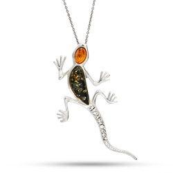Genuine Baltic Amber Sterling Silver Gecko Lizard Pendant