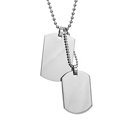 Medium and Small Stainless Steel Double Dog Tag Pendant