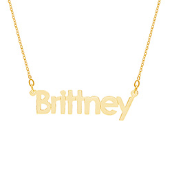 Gold Vermeil Simple Block Style Nameplate Necklace