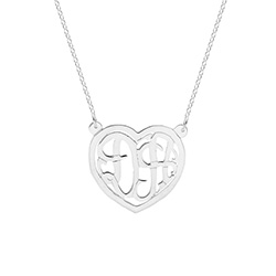 Sterling Silver Custom Two Initial Monogram Couples Heart Pendant