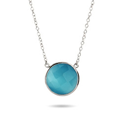 Sterling Silver Faceted Blue Chalcedony Gemstone Necklace