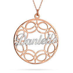 Rose Gold Vermeil Filigree Custom Name Circle Pendant