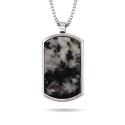 Designer Inspired Engravable Marbled Agate Stone Dog Tag