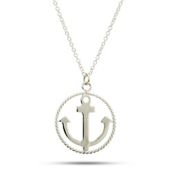 Tiffany Inspired Twisted Border Anchor Necklace