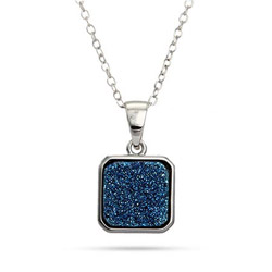 Sterling Silver Blue Drusy Quartz Cushion Pendant