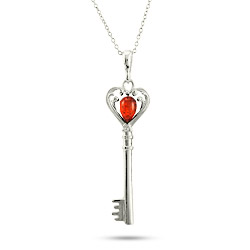 Sterling Silver Baltic Amber Heart Key Pendant