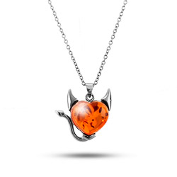 Sterling Silver Baltic Amber Devilish Heart Pendant