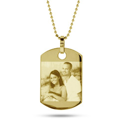 18K Gold Plated Small Dog Tag Photo Pendant
