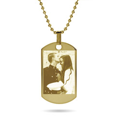 18K Gold Plated Large Dog Tag Photo Pendant