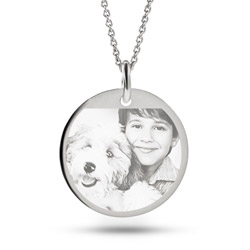 Sterling Silver Round Tag Photo Pendant