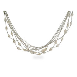 Sterling Silver Multi Chain Layered Freshwater Pearl Necklace