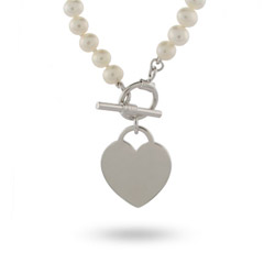 Tiffany Inspired Freshwater Pearl Sterling Silver Heart Tag Necklace
