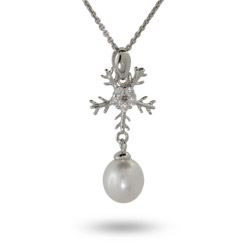 Sterling Silver & CZ Snowflake Pendant with Pearl Drop