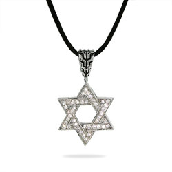Bali Style CZ Star of David Necklace