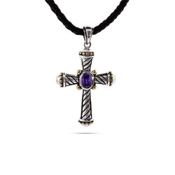 Designer Inspired Cable Style Cross Pendant with Amethyst CZ
