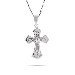 Gothic Style Silver Cross with Single CZ