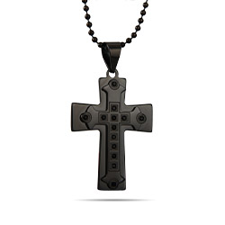 Men's Engravable Black Plate Gothic Cross Pendant