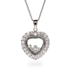 Chopard Inspired Silver Happy Diamonds CZ Heart Pendant