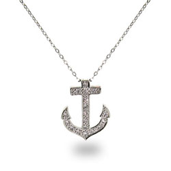 Tiffany Inspired Cubic Zirconia Anchor Pendant