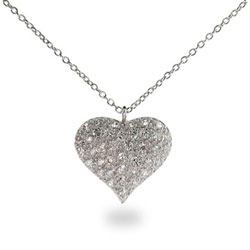Nicki's Sterling Silver Pave CZ Puffed Heart Necklace