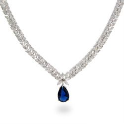 Elegant Double Row Marquise CZs with Peardrop Sapphire Necklace