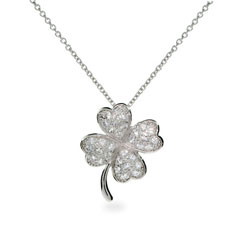 Good Luck Sterling Silver Pave CZ Four Leaf Clover Pendant