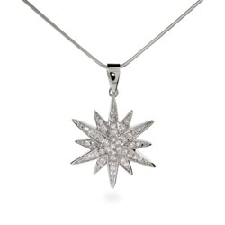 Tiffany Inspired Sterling Silver CZ Sunburst Pendant