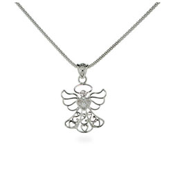 Touched By An Angel CZ Sterling Silver Necklace