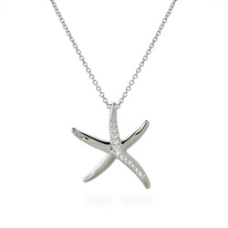 The Sandy Beach CZ Starfish Sterling Silver Necklace