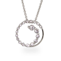 Sterling Silver CZ Journey Circle Pendant