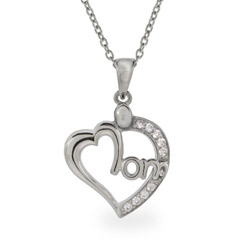 Sparkling CZ Heart Sterling Silver Mom Necklace