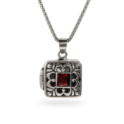 Garnet Princess Cut CZ Sterling Silver Bali Locket
