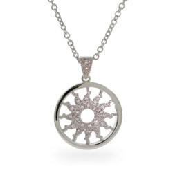 Flaming CZ Sun Sterling Silver Circle Pendant