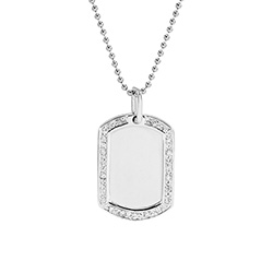 Cubic Zirconia Edged Sterling Silver Dog Tag Pendant
