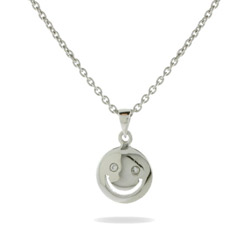 Petite Sterling Silver Smiley Face Pendant