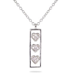 Tiffany Inspired CZ Heart Bar Sterling Silver Pendant