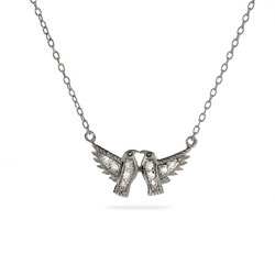 Sparkling CZ Sterling Silver Lovebirds Necklace