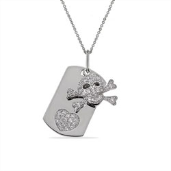 Pave CZ Skull and Crossbones Dog Tag Pendant