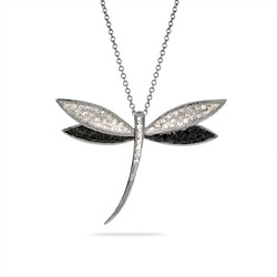 Dazzling Black and White CZ Dragonfly Pendant