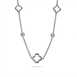 Designer Style Sterling Silver Four Petal & Hearts Necklace
