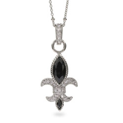 Debra's Stunning Black Onyx and CZ Fleur de Lis Necklace